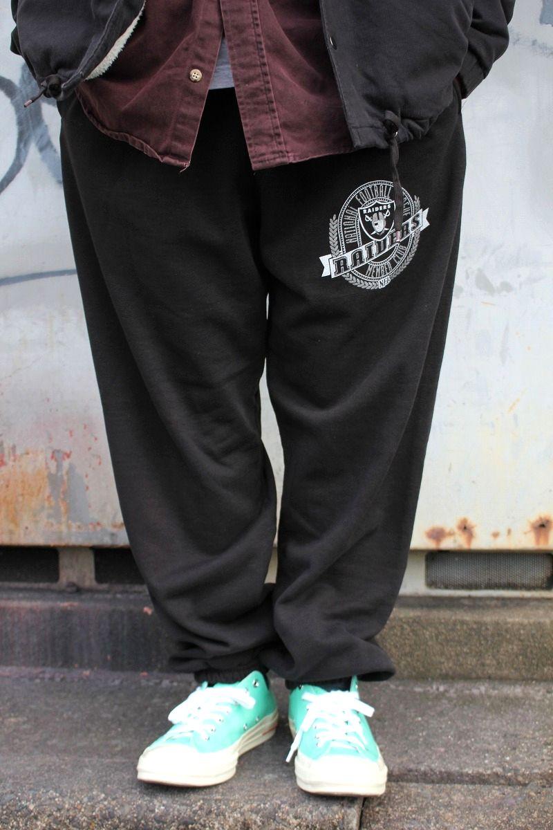 """USED!!! NUTMEG MILLS / """"OAKLAND RAIDERS"""" SWEAT PANTS (90'S) / black"""