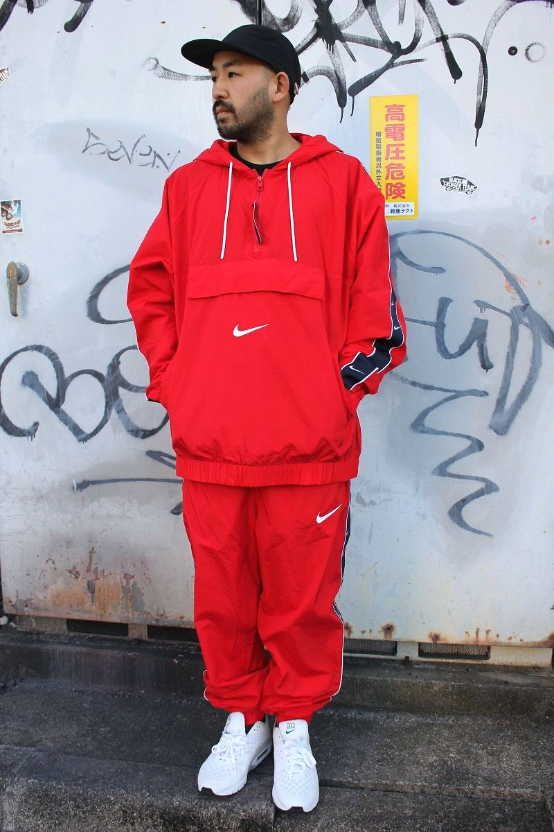 NIKE / LOOSE FIT NYLON SET UP JERSEY / red×navy