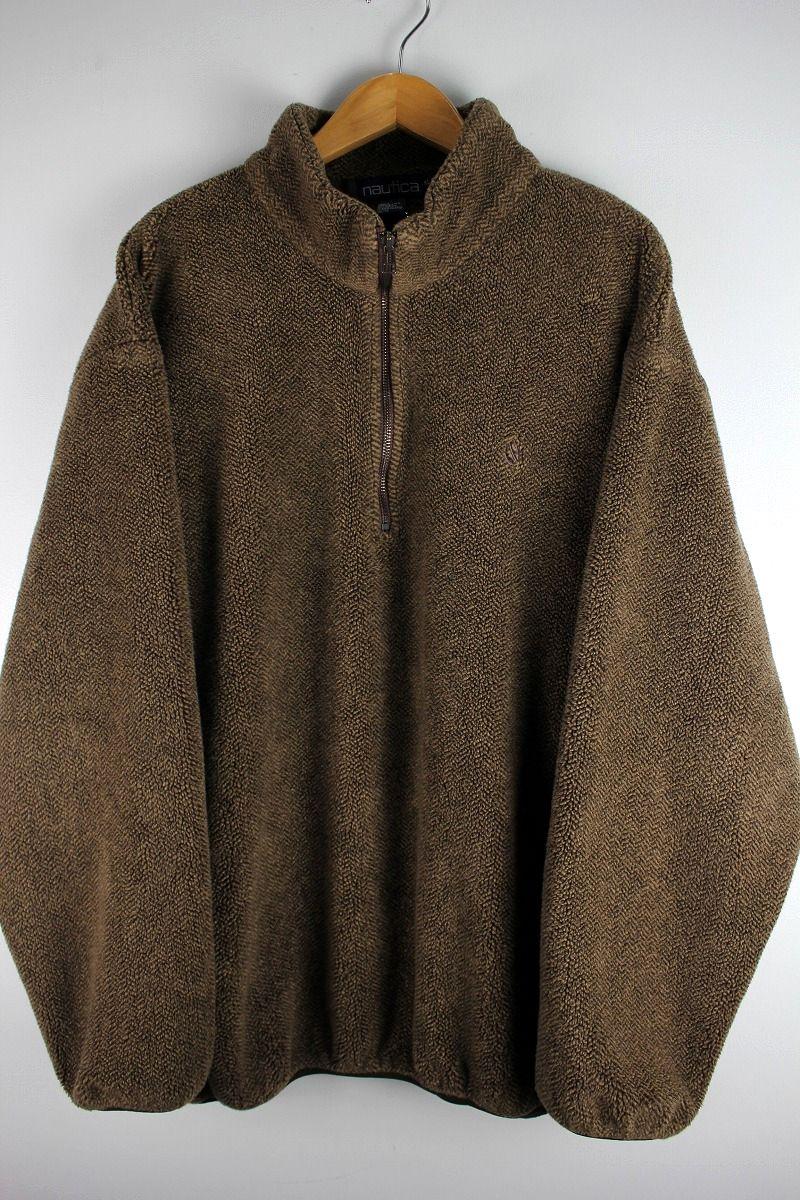 USED!!! NAUTICA / HALF-ZIP HERRING BONE FLEECE JACKET (90'S) / brown