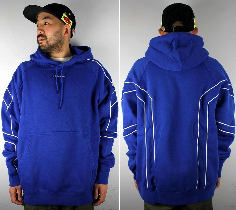 adidas EQUIPMENT / OUTLINE PULLOVER SWEAT HOODIE / blue×white