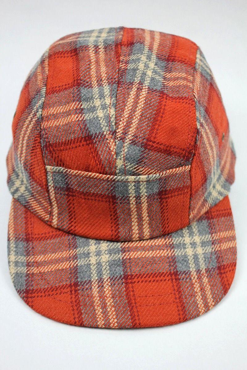 DEADSTOCK!!! NEWYORK HAT / PLAID FLANNEL JET CAP (90'S) / dark orange