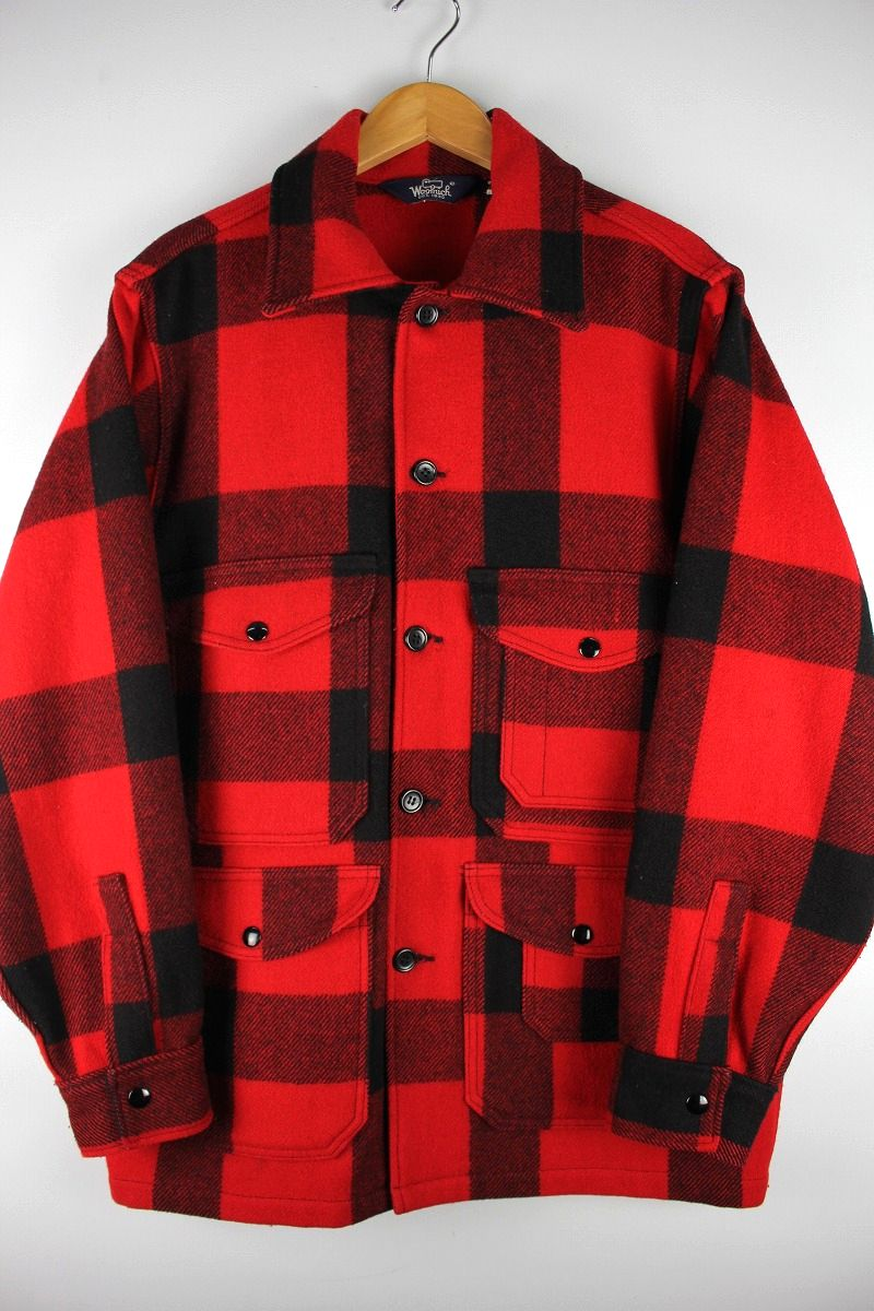 USED!!! WOOLRICH / MACKINAW HUNTING JACKET (80'S) / red×black