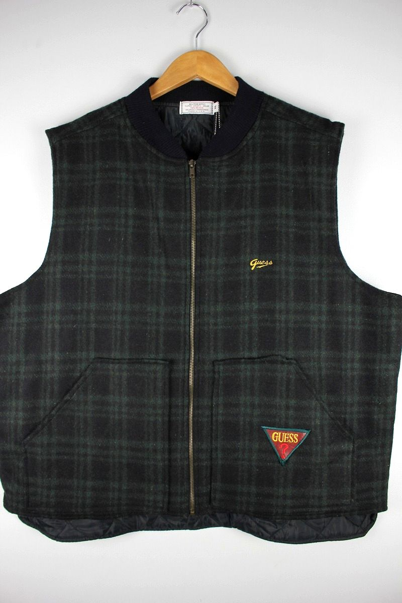 USED!!! GUESS / PLAID WOOL VEST (80'S) / black