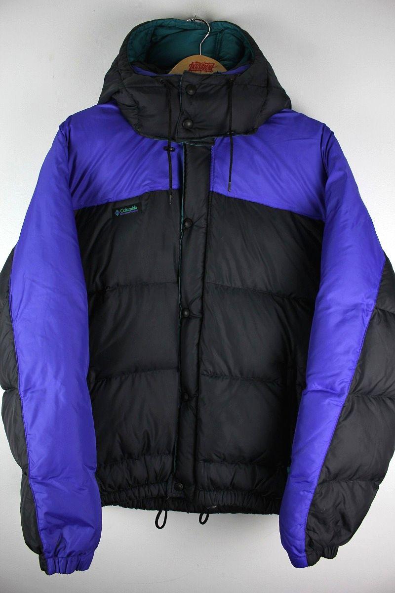 USED!!! COLUMBIA / HOODED DOWN JACKET (90'S) / purple×black
