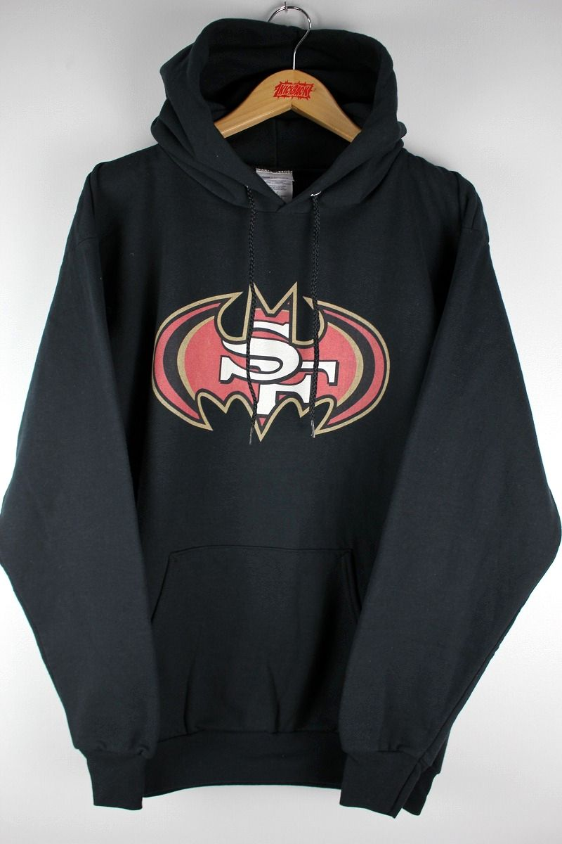 USED!!! SAN FRANCISCO 49ERS / BATMAN LOGO PULLOVER SWEAT HOODIE (00'S) / black