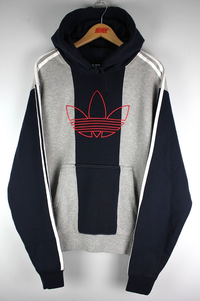 "adidas ORIGINALS / ""OFF COURT TREFOIL"" STRIPED PULLOVER SWEAT HOODIE / navy×grey×white"