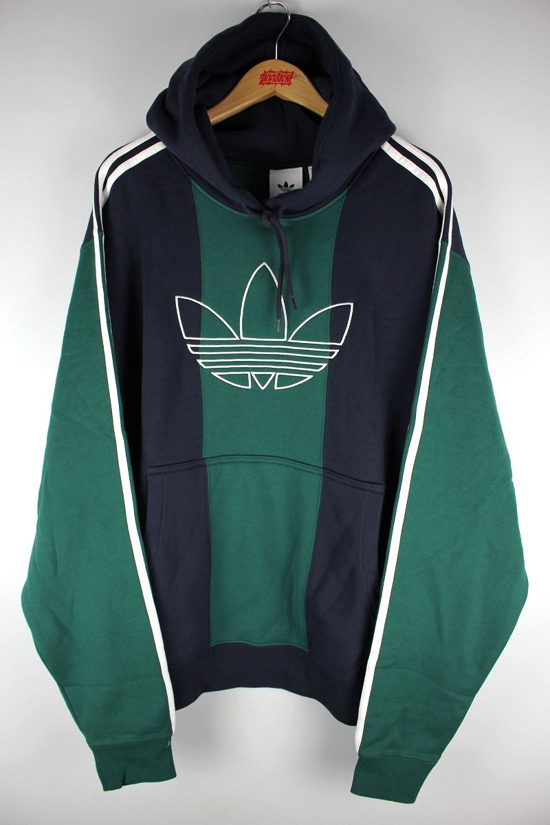 "adidas ORIGINALS / ""OFF COURT TREFOIL"" STRIPED PULLOVER SWEAT HOODIE / navy×green×white"