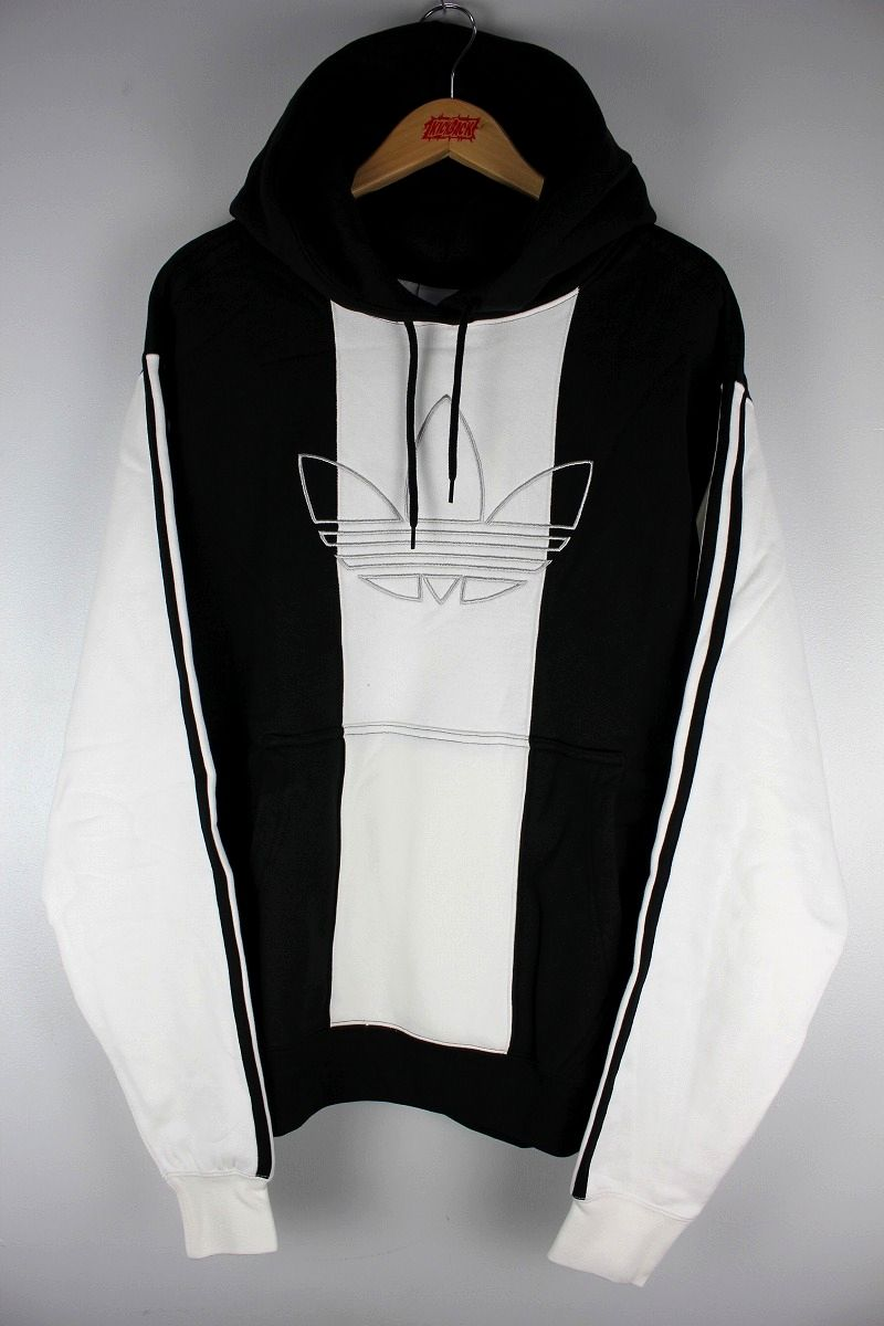 "adidas ORIGINALS / ""OFF COURT TREFOIL"" STRIPED PULLOVER SWEAT HOODIE / black×white"