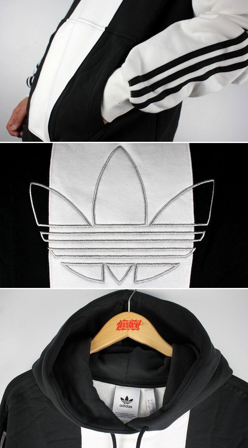 "adidas ORIGINALS / ""OFF COURT TREFOIL"" STRIPED PULLOVER SWEAT HOODIE / black×white"