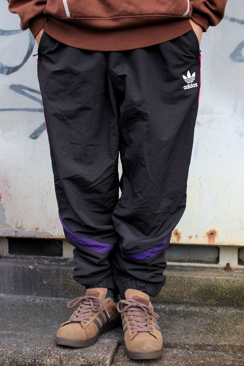 adidas ORIGINALS / SPORTIVE NYLON TRACK PANTS / black×pink×dark purple