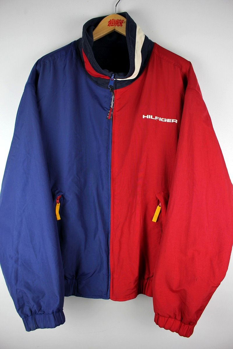 USED!!! TOMMY HILFIGER / NYLON-FLEECE REVERSIBLE JACKET (90'S) / red×navy⇔navy