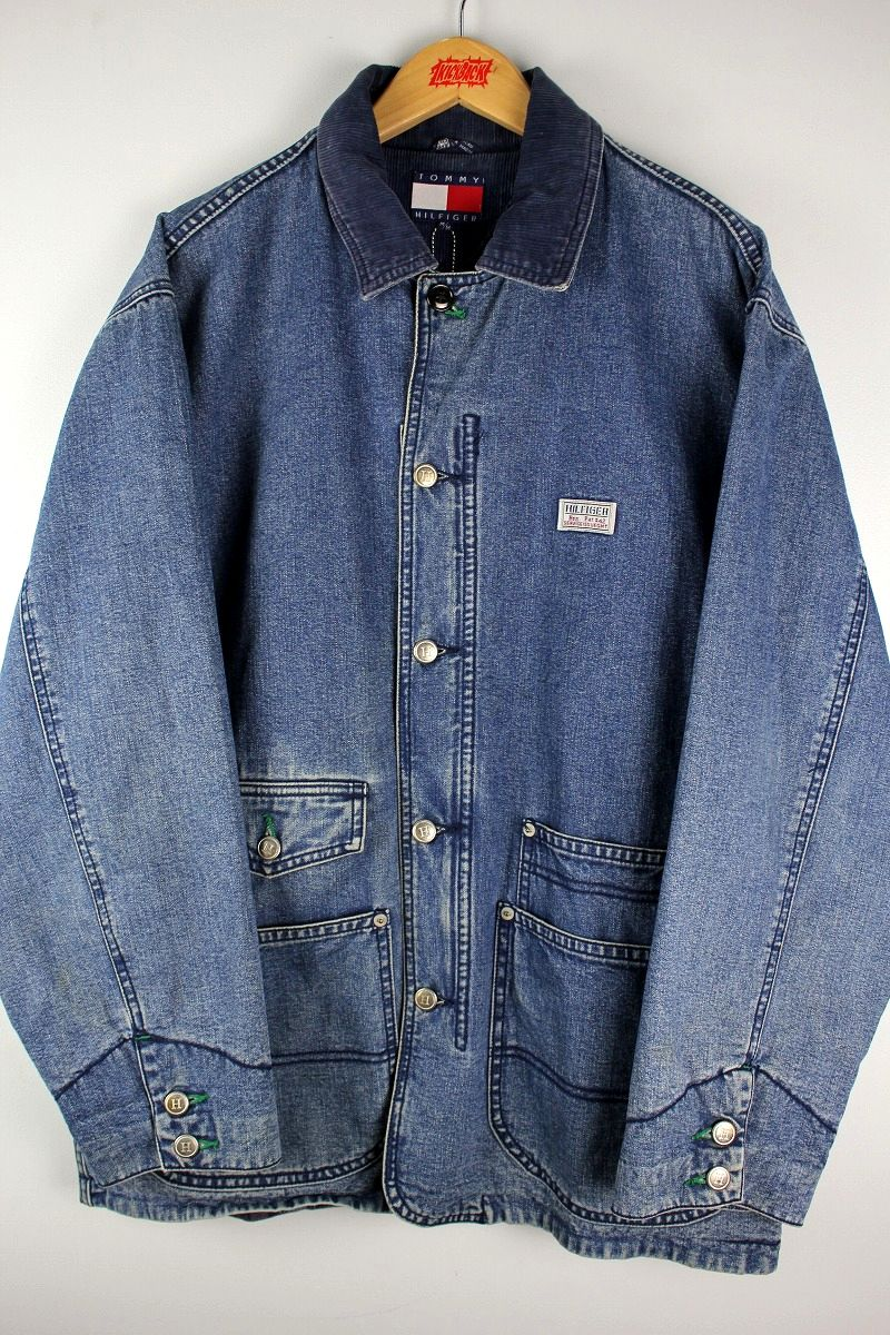 USED!!! TOMMY HILFIGER / DENIM COVER-ALL JACKET (90'S) / vintage wash indigo