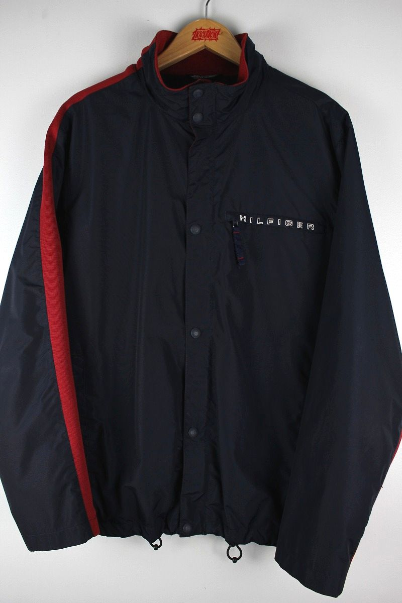 USED!!! TOMMY HILFIGER / LINED NYLON JACKET (90'S) / navy×red