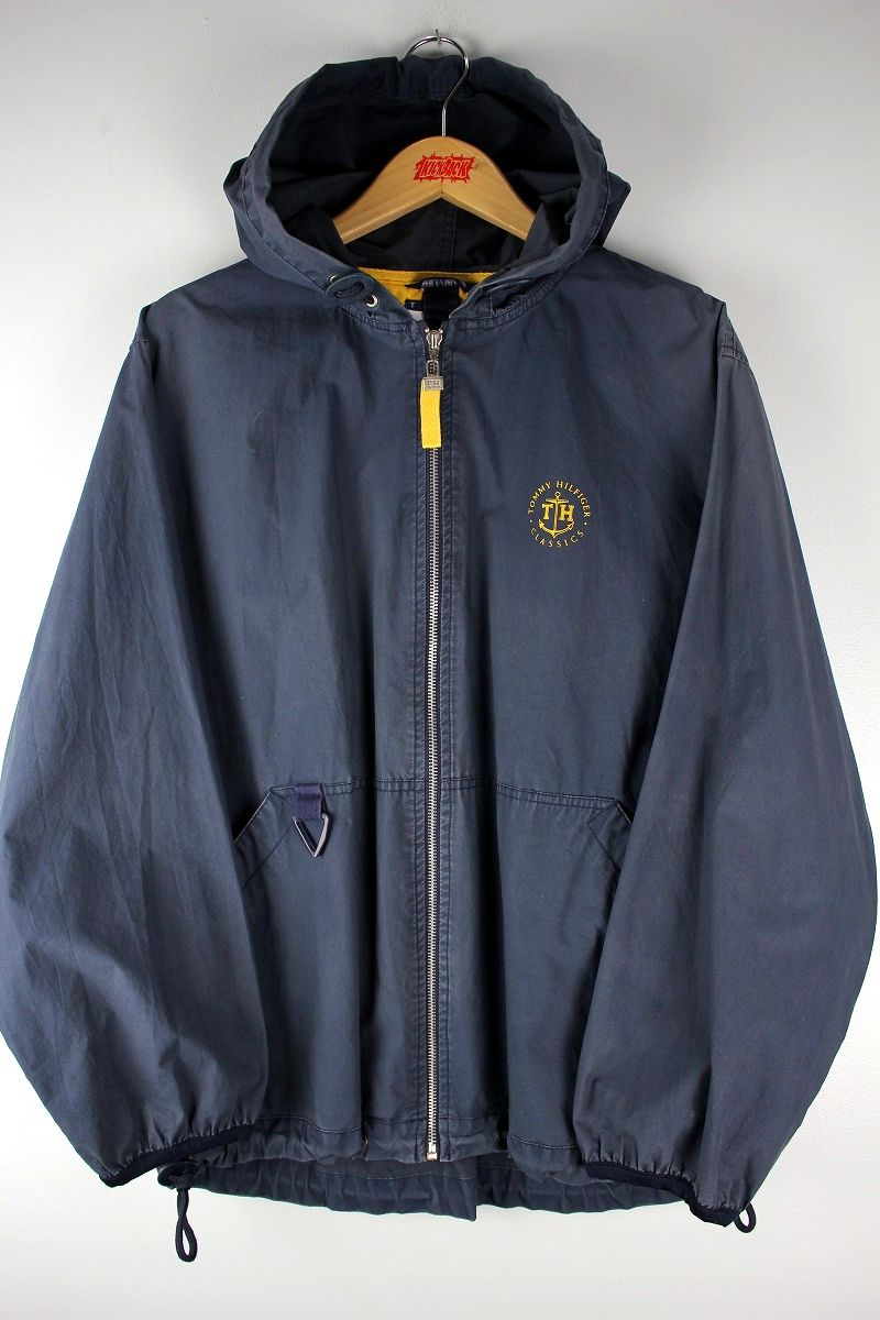 USED!!! TOMMY HILFIGER / COTTON HOODIE JACKET (90'S) / washed navy