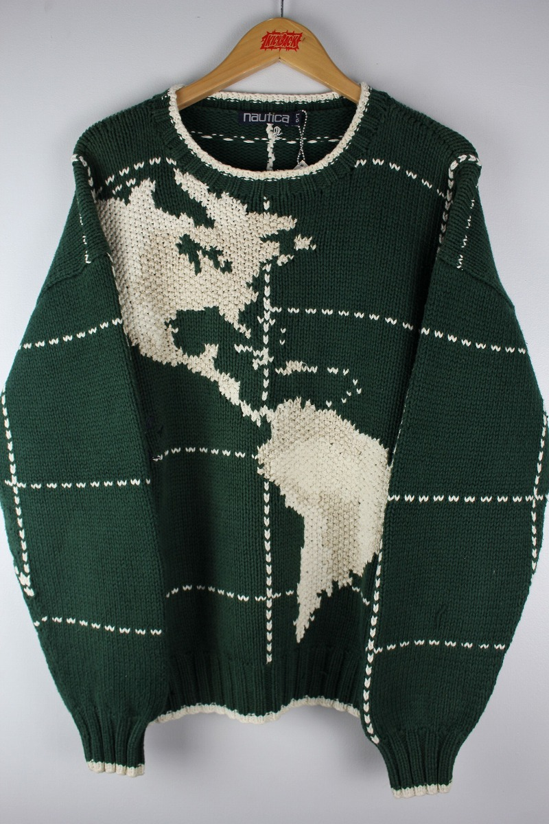 """USED!!! NAUTICA / """"MAP"""" COTTON KNIT SWEATER (90'S) / green×off white"""