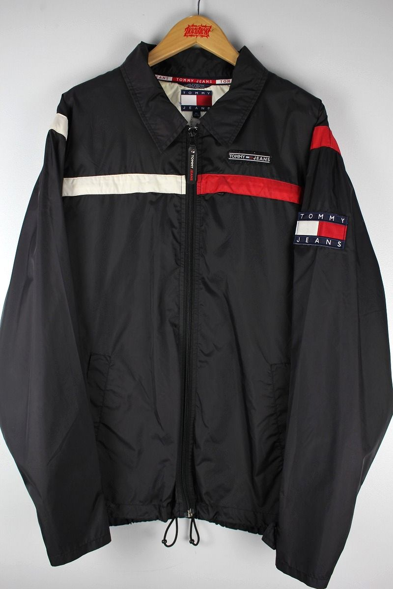 USED!!! TOMMY HILFIGER / NYLON WINDBREAKER (90'S) / black×red×white