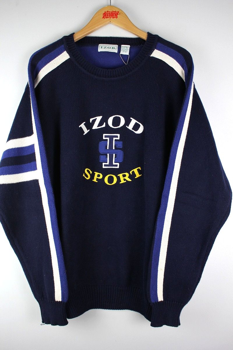 USED!!! IZOD / LINED COTTON KNIT SWEATER (90'S) / navy