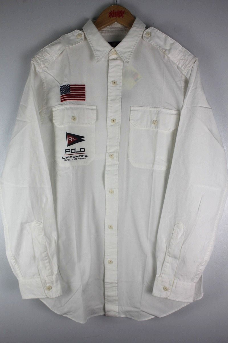"POLO RALPH LAUREN / ""SAILING FLAG"" LS SHIRTS / white"