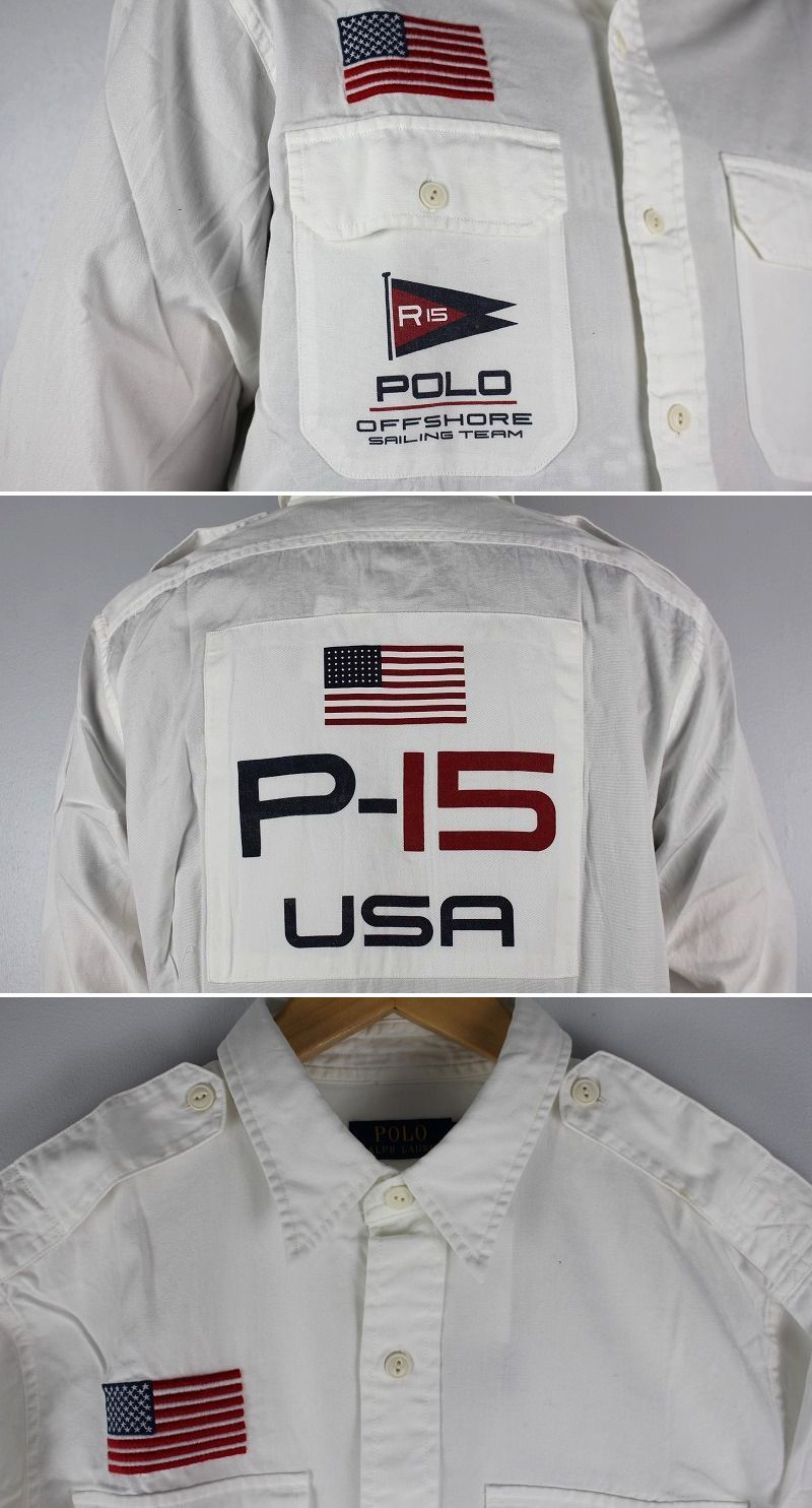 "POLO RALPH LAUREN / ""SAILING FLAG"" LS SHIRTS / white"