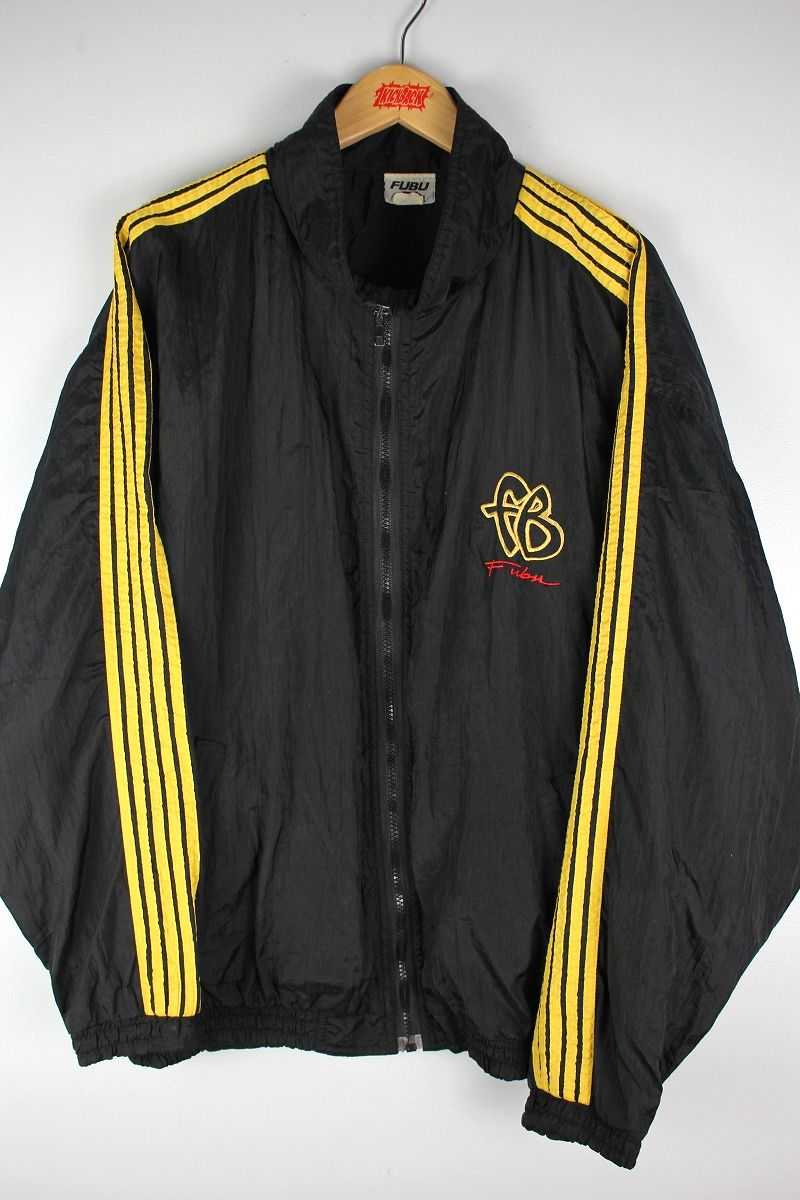 USED!!! FUBU / LINED NYLON WINDBREAKER (90'S) / black×yellow