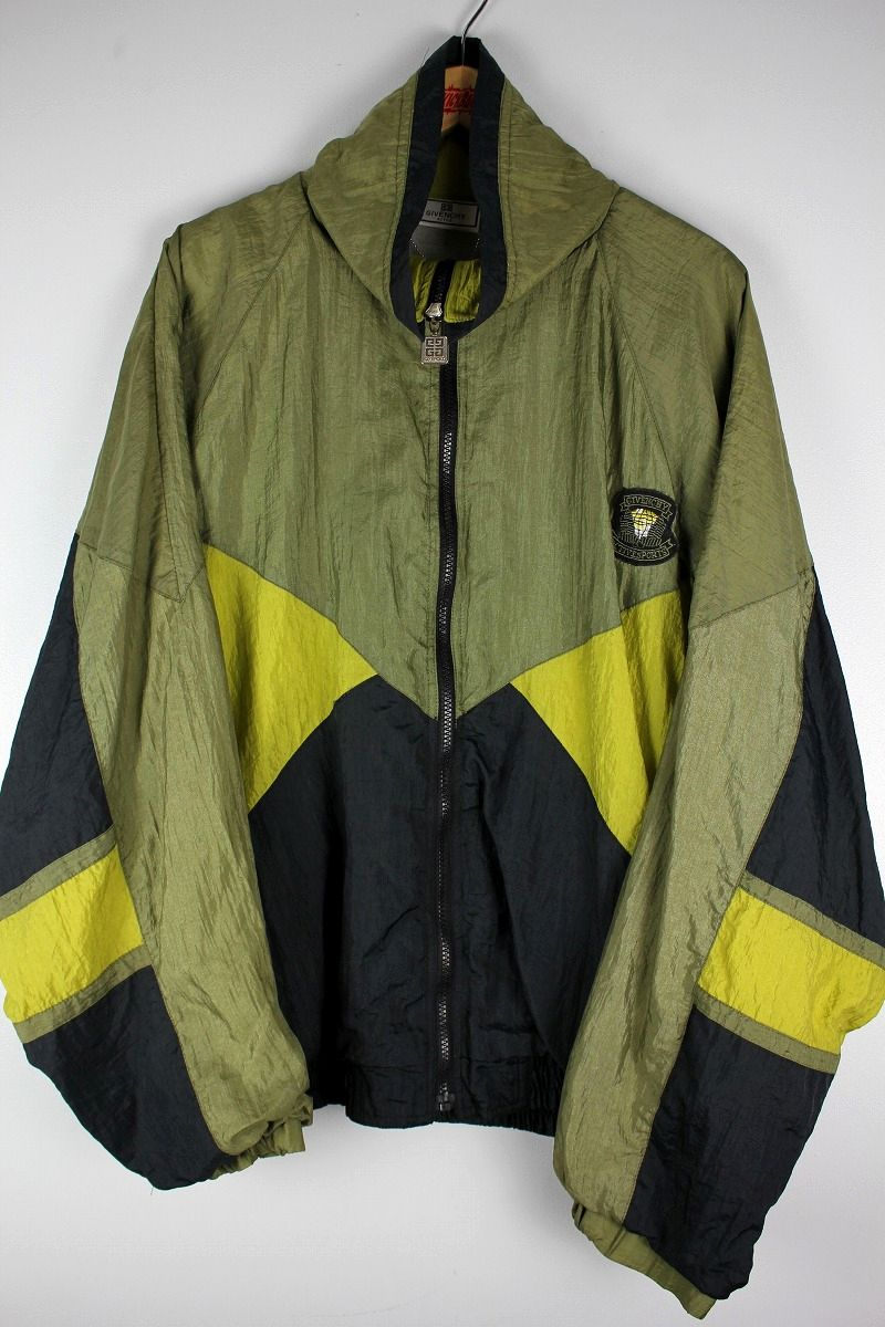 USED!!! GIVENCHY / COLOR BLOCK NYLON WINDBREAKER (90'S) / khaki×dark mustard×black
