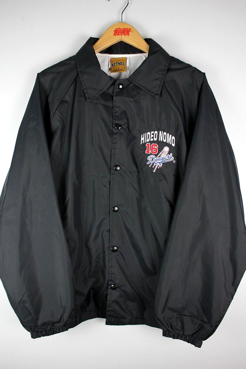 "USED!!! NUTMEG MILLS / ""HIDEO NOMO - LA DODGERS"" COACH JACKET (90'S) / black"