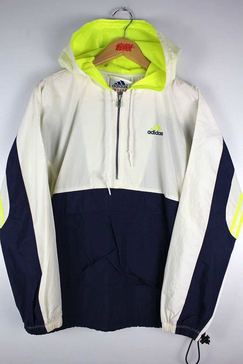 USED!!! adidas / NYLON ANORAK (90'S) / white×navy×yellow