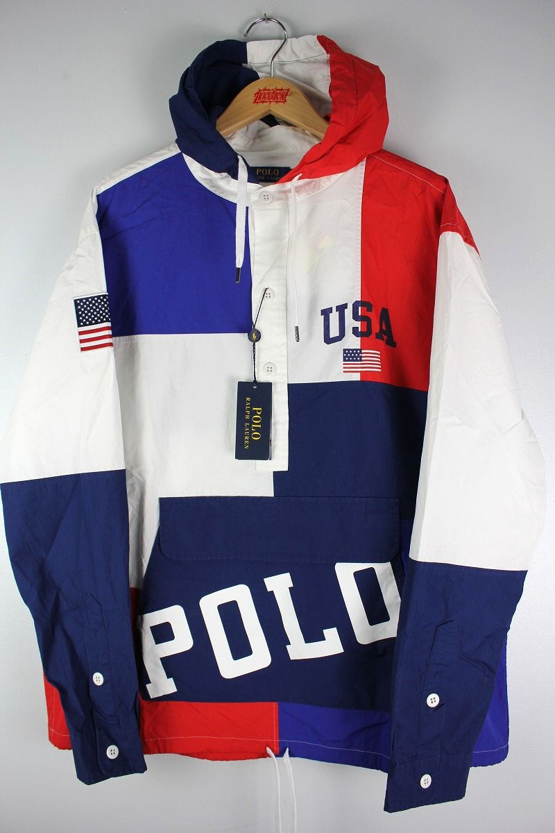 "POLO RALPH LAUREN / ""CHARIOTS"" COLOR BLOCK COTTON ANORAK SHIRT / white×blue×red×navy"