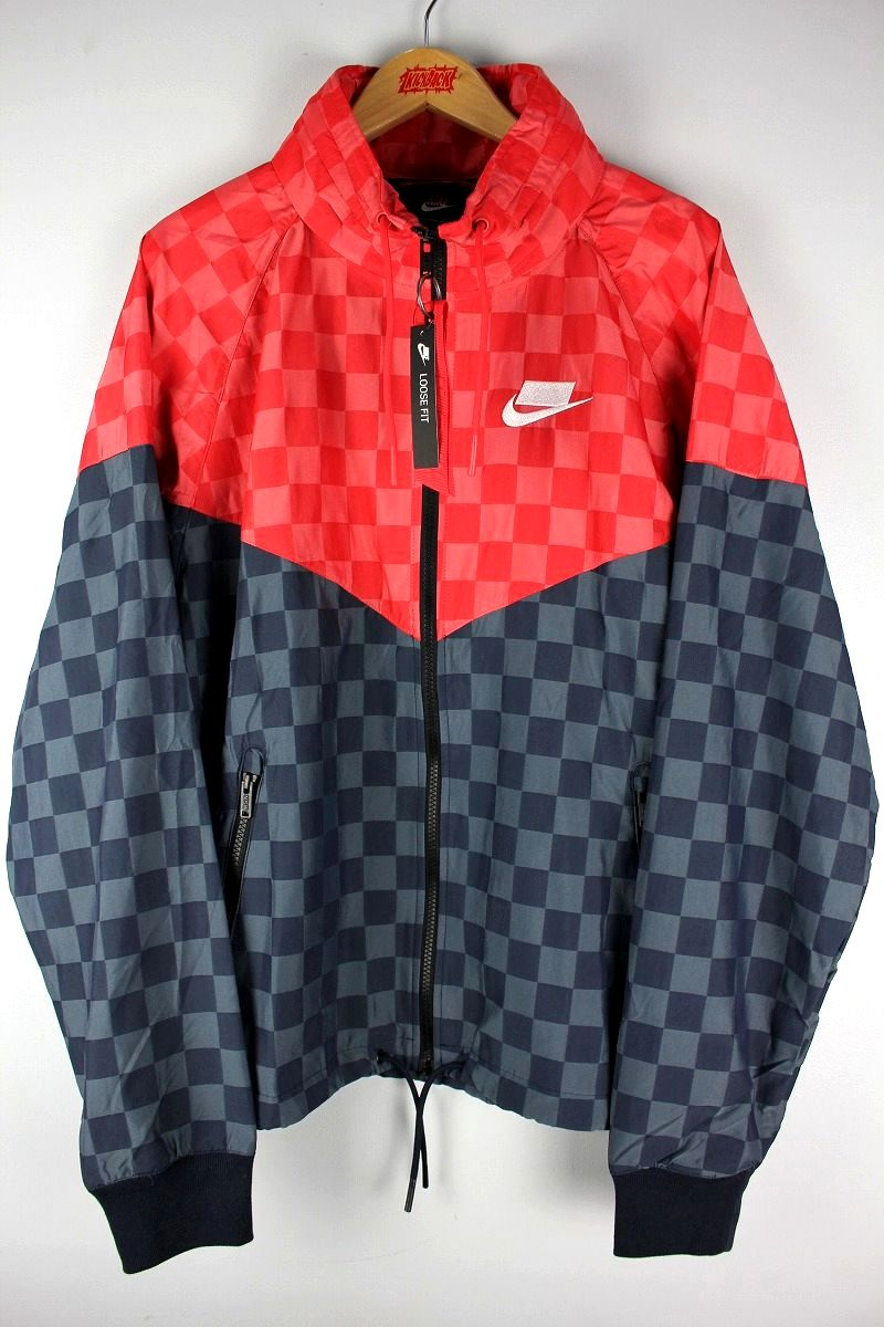 "NIKE / ""CHECKER"" WINDRUNNER JACKET / red×black"