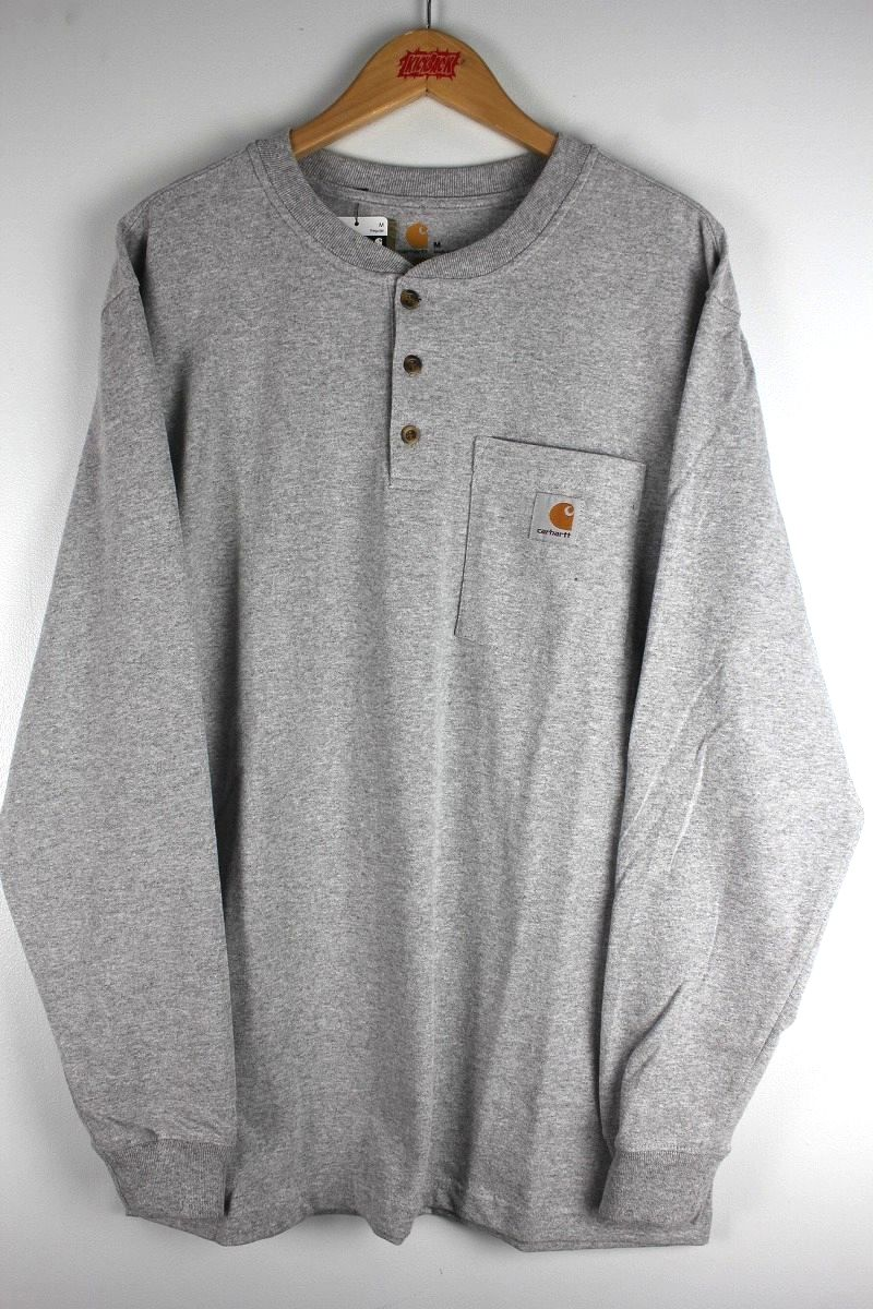 CARHARTT / HENLEY-NECK POCKET LS Tee / heather grey