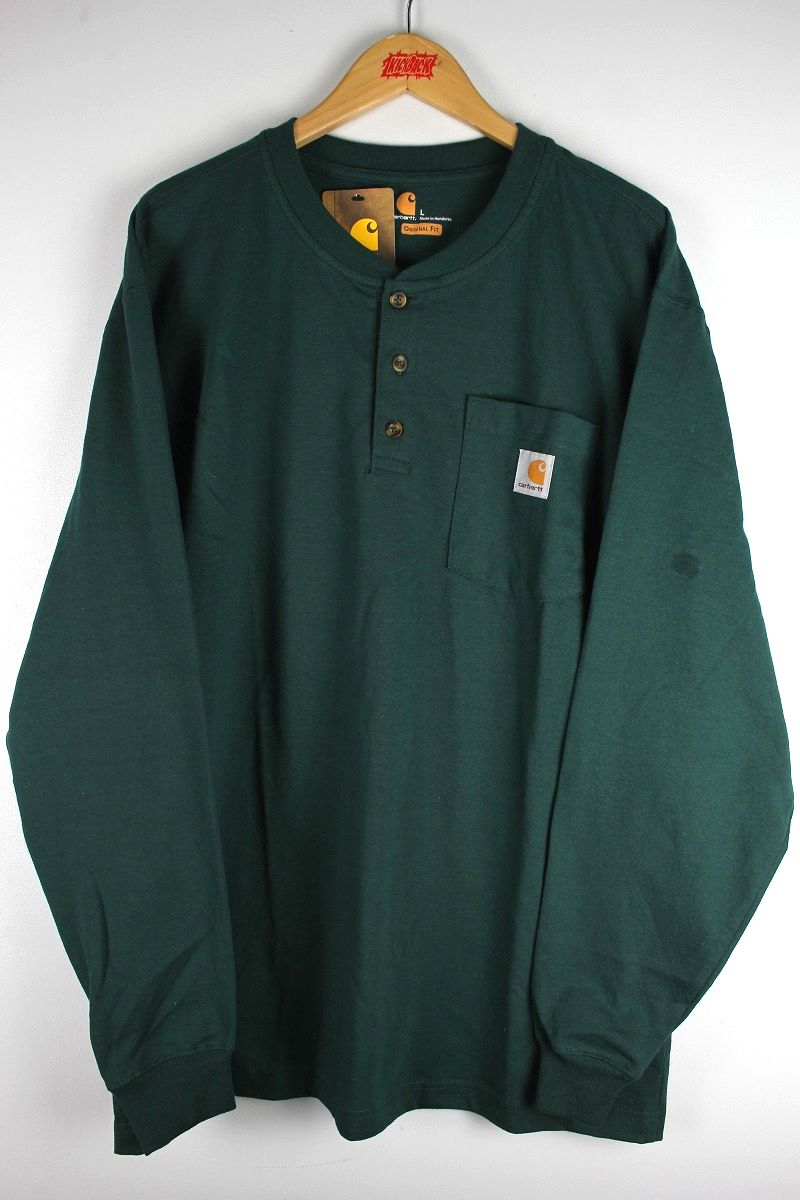 CARHARTT / HENLEY-NECK POCKET LS Tee / dark green