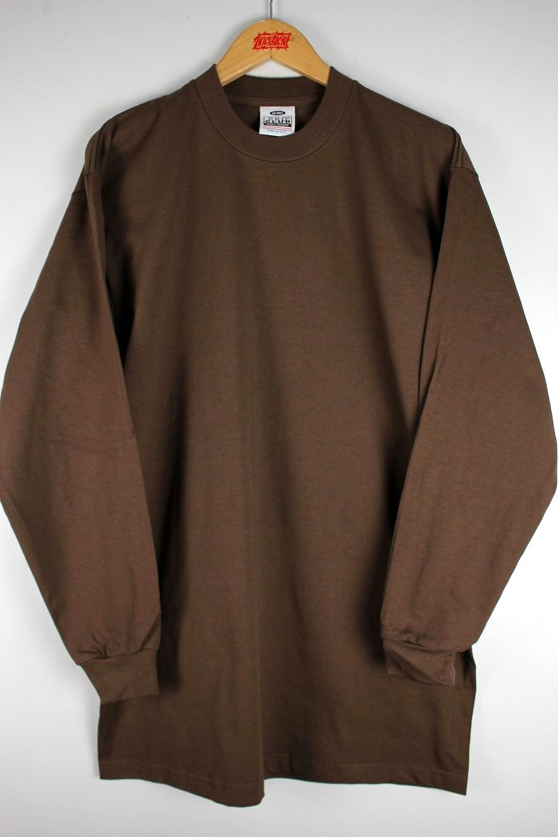 PRO CLUB / HEAVY WEIGHT CREWNECK LS Tee (TALL SIZE) / brown