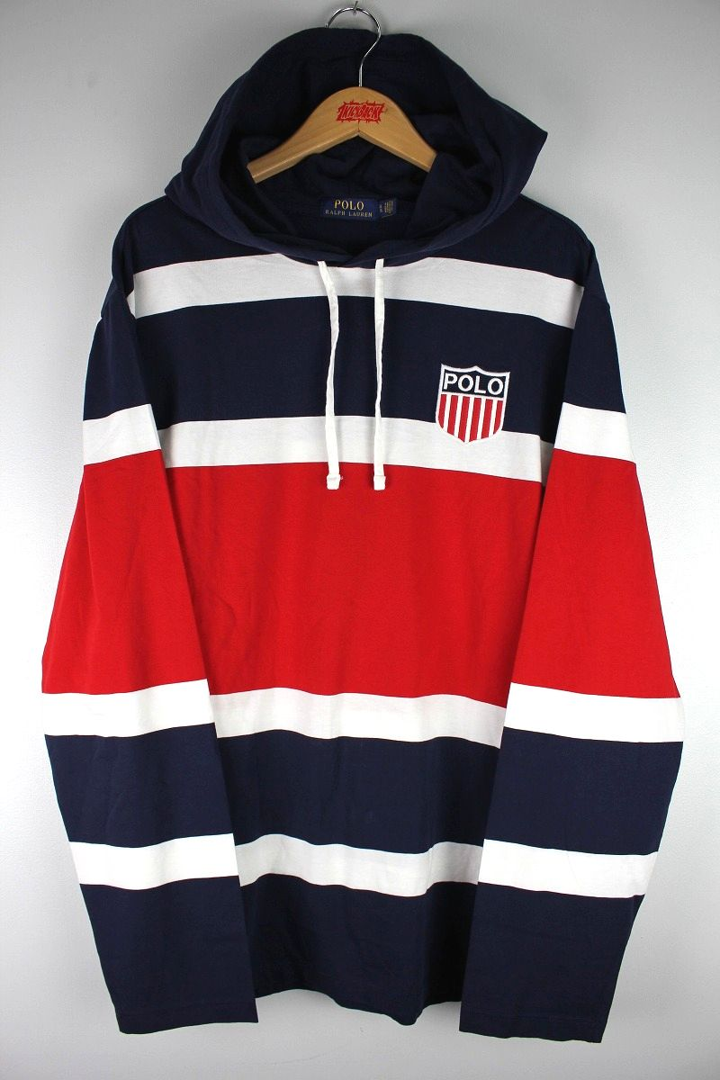 "POLO RALPH LAUREN / ""CHARIOTS"" HOODED BORDER LS Tee / navy×white×red"