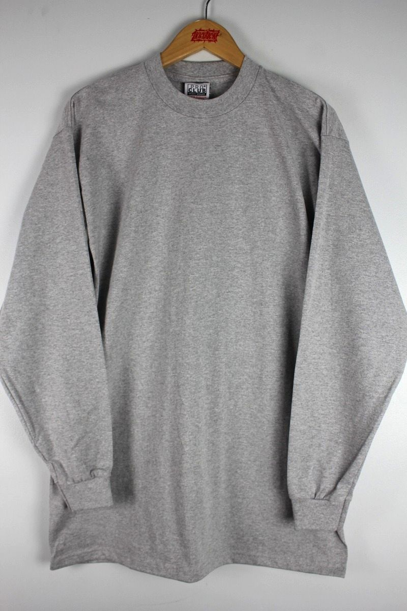 PRO CLUB / HEAVY WEIGHT CREWNECK LS Tee (TALL SIZE) / heather grey