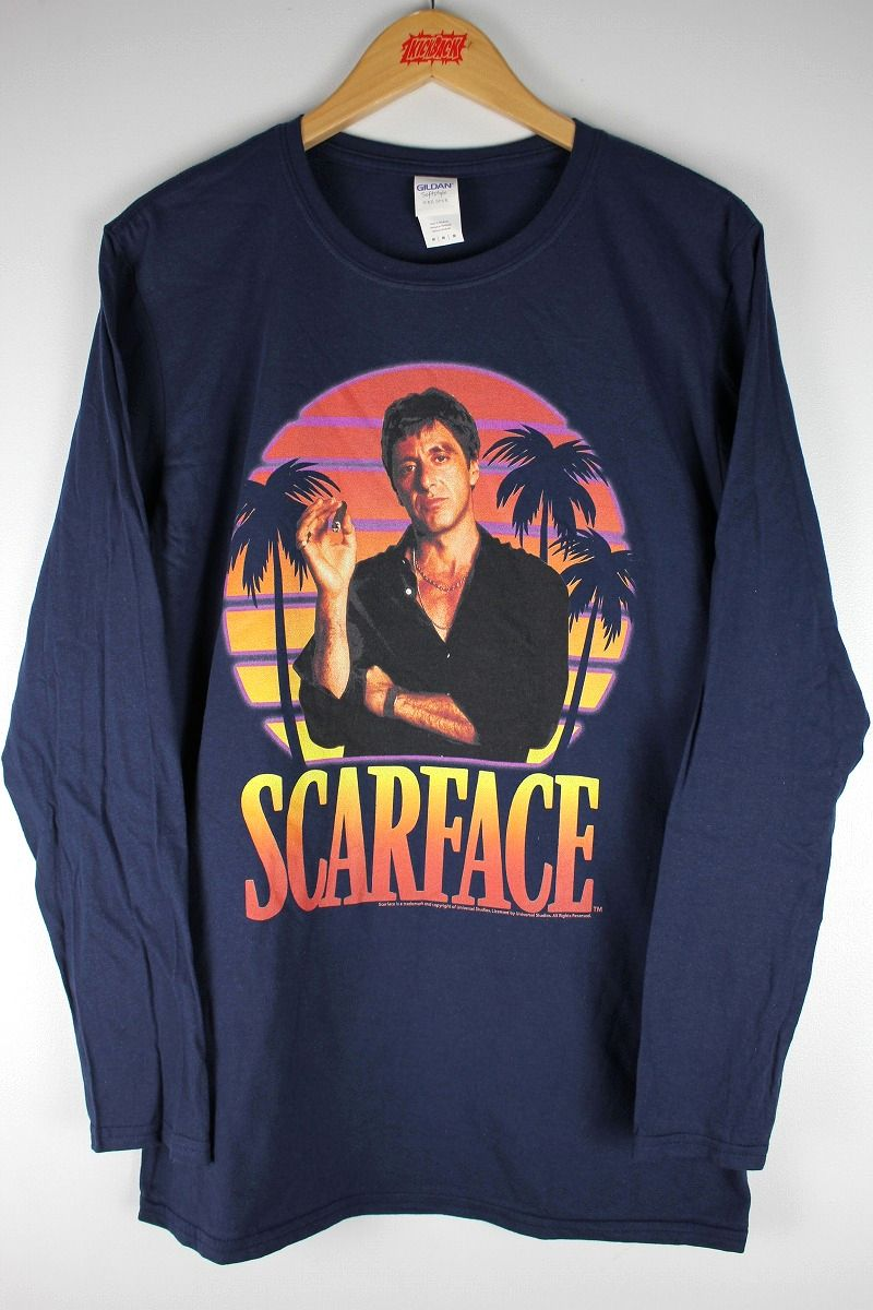 "SCARFACE / ""MIAMI SUNSET"" LS Tee / navy"