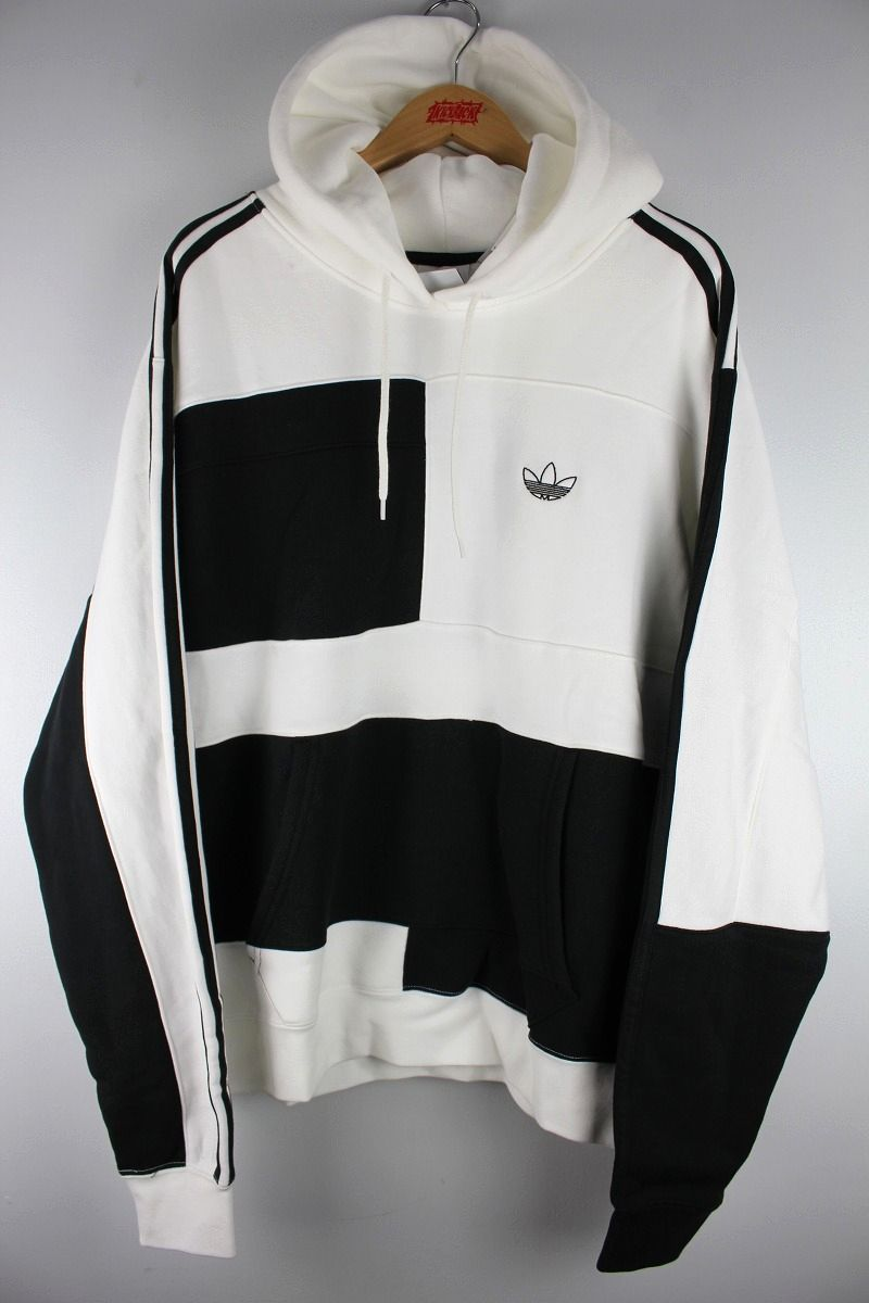 "adidas ORIGINALS / ""ASYMM BLOCK"" PULLOVER SWEAT HOODIE / white×black"