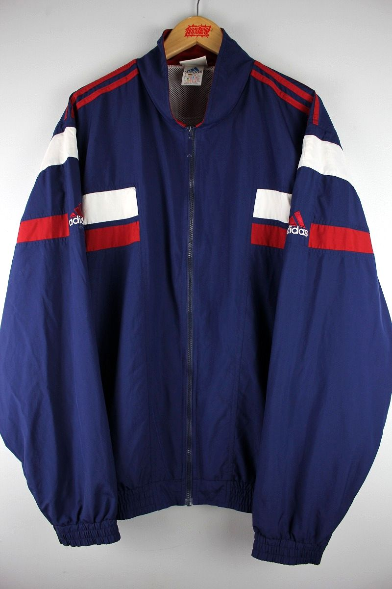 USED!!! adidas / NYLON TRACK JACKET (90'S) / navy×white×red