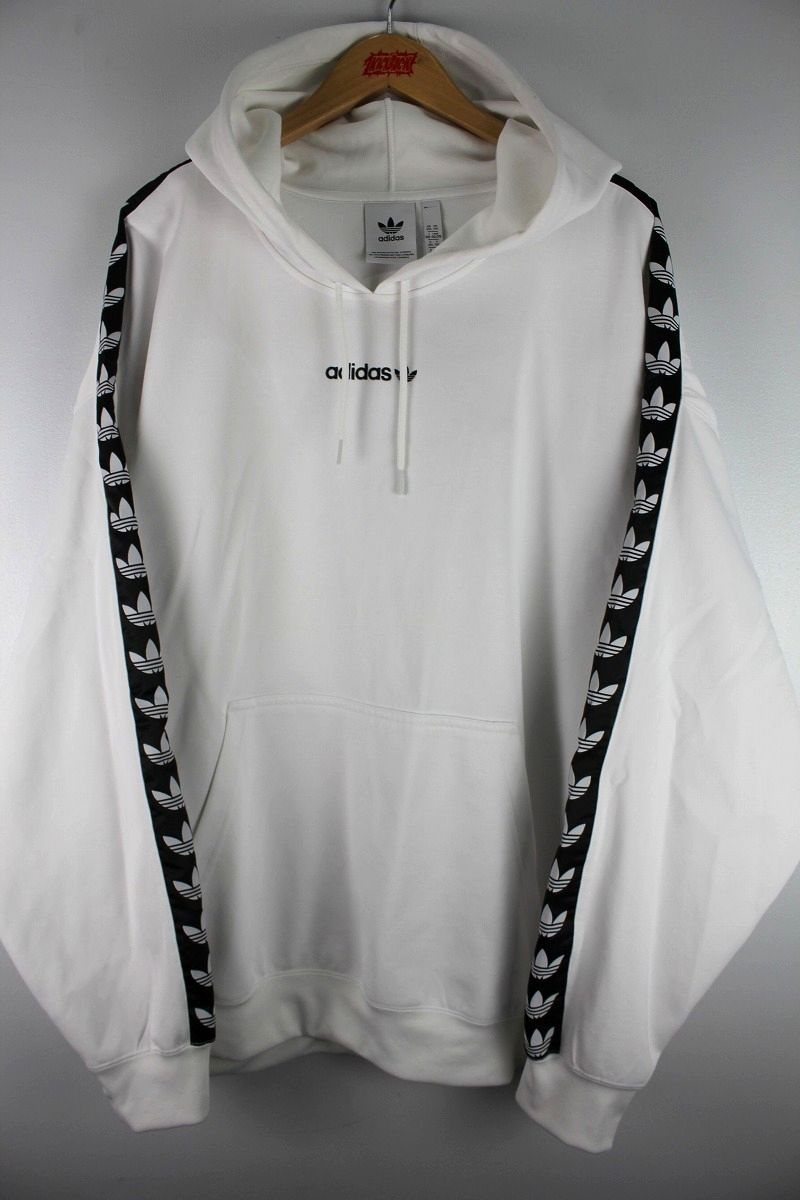 "USED!!! adidas ORIGINALS / ""TREFOIL LINE"" JERSEY HOODIE / white×black"