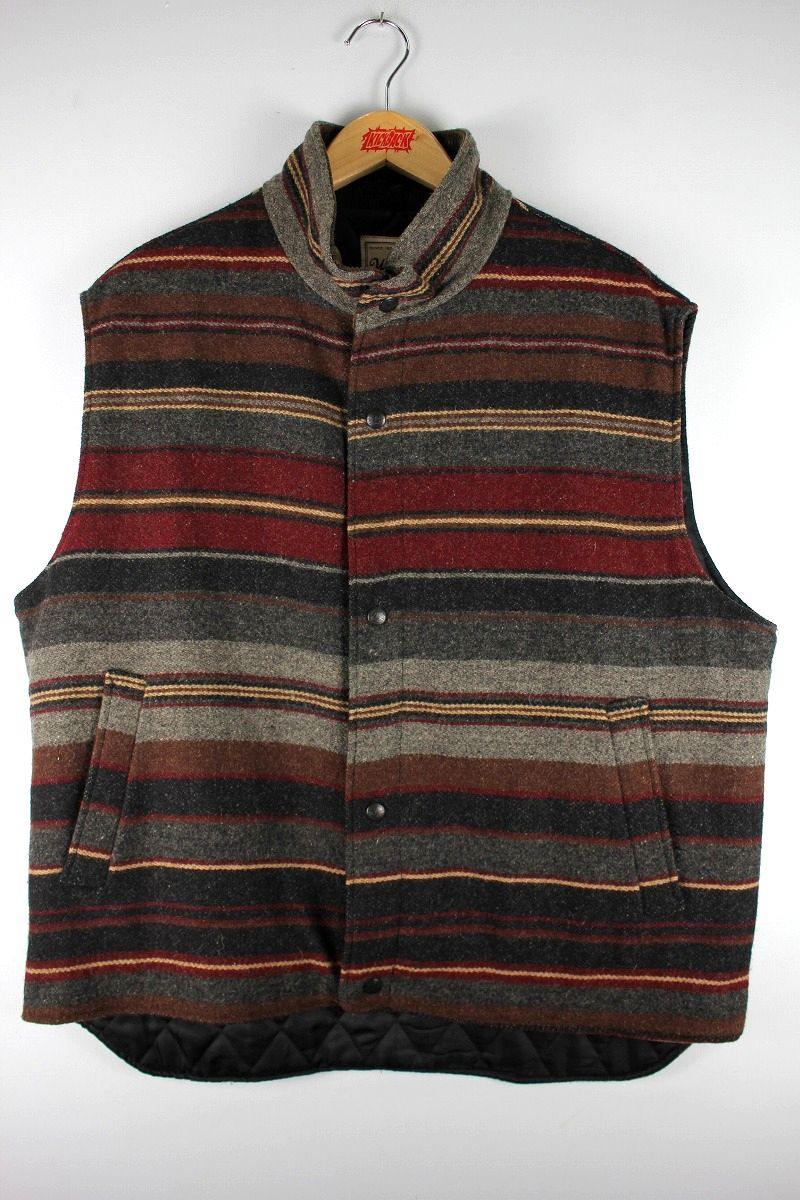 USED!!! WOOLRICH / BORDER BLANKET WOOL VEST (90'S) / multi