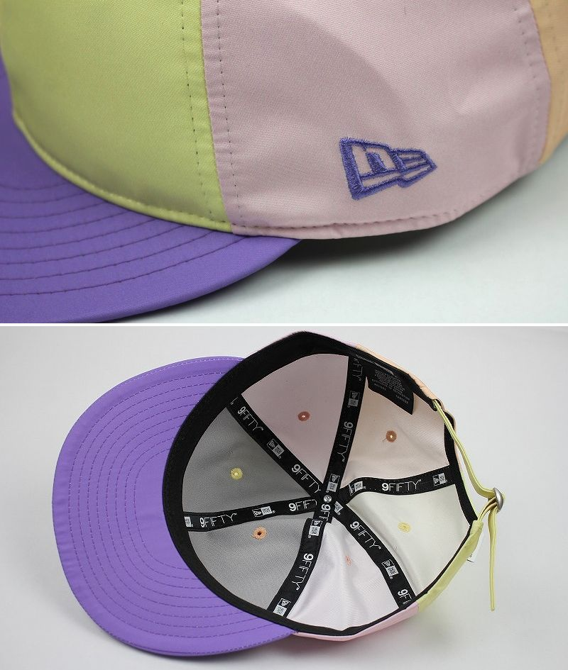 NEWERA / COLOR-BLOCK NYLON STRAPBACK CAP