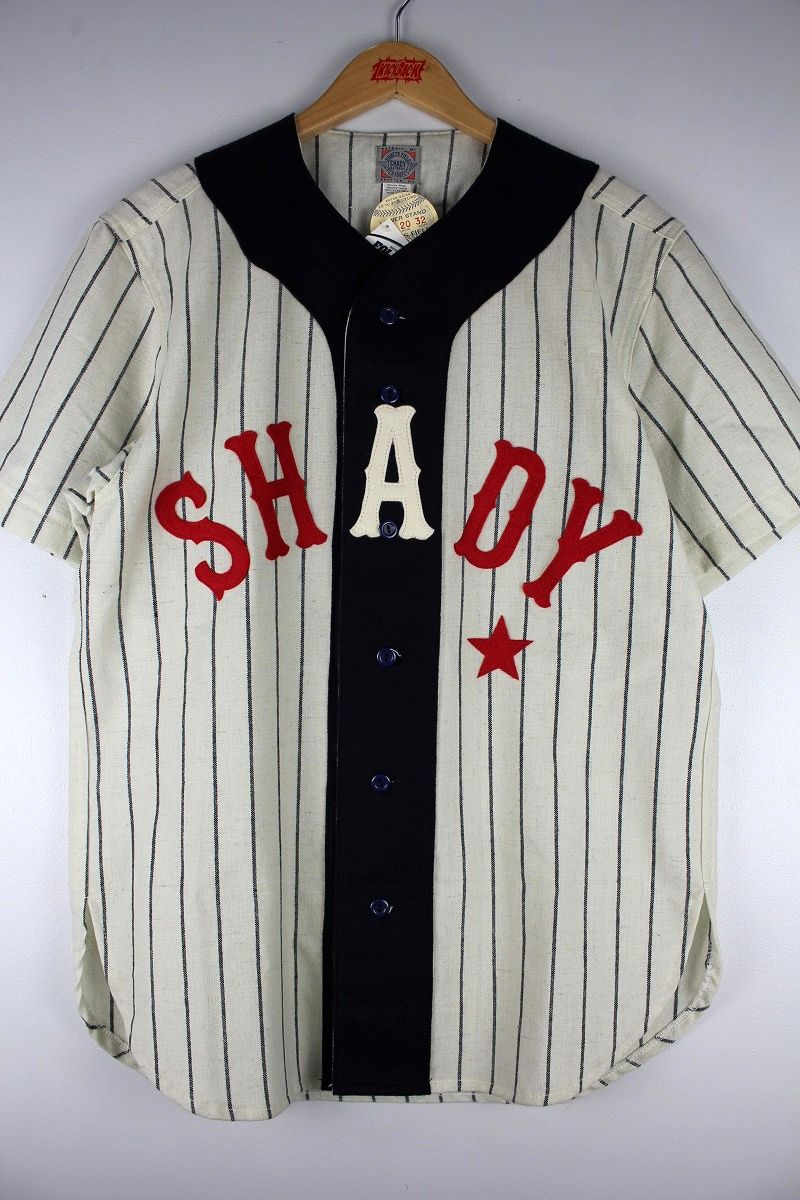 "EBBETS FIELD×EMINEM / ""SHADY"" WOOL BASEBALL SHIRTS / navy×off white"