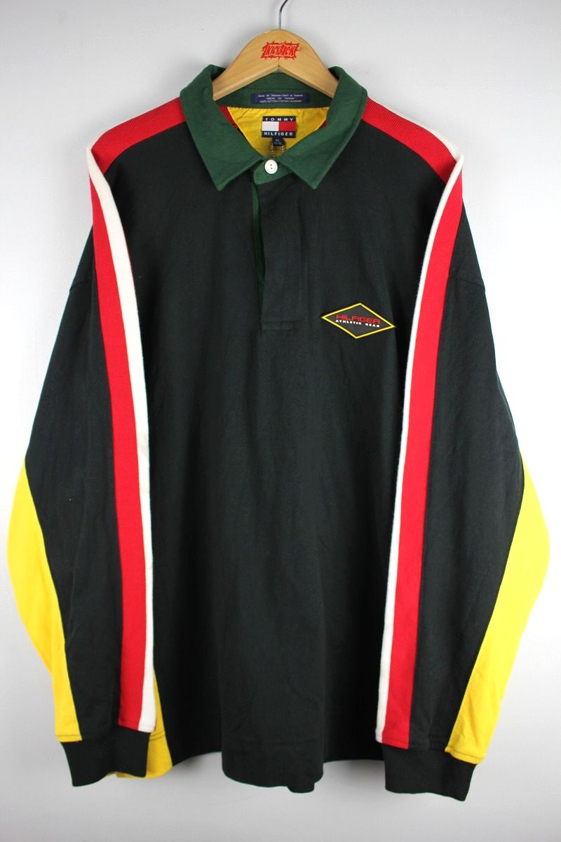 USED!!! TOMMY HILFIGER / LS COLOR BLOCK RUGBY SHIRTS (90'S) / navy×red×white×yellow