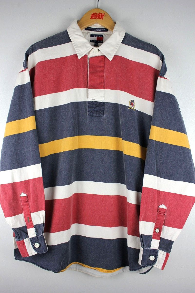 USED!!! TOMMY HILFIGER / LS BORDER RUGBY SHIRTS (90'S) / navy×white×red×yellow
