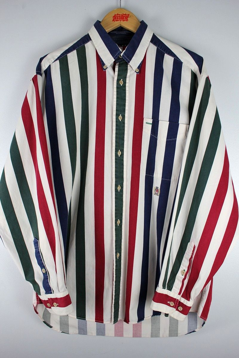 USED!!! TOMMY HILFIGER / LS STRIPED BUTTON DOWN SHIRTS (90'S) / white×red×navy×green
