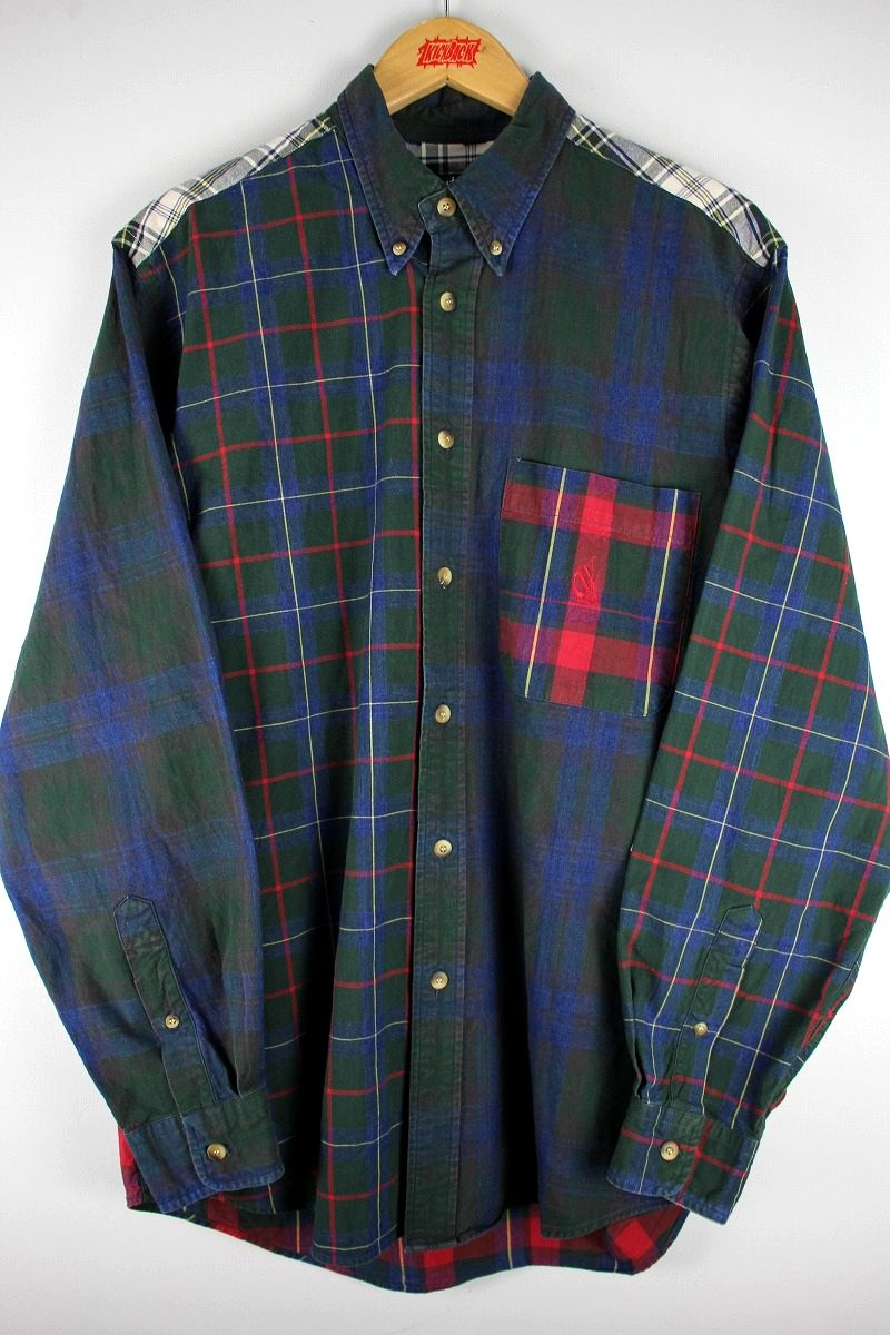 USED!!! TOMMY HILFIGER / MULTI CHECK BUTTON DOWN SHIRTS (90'S)