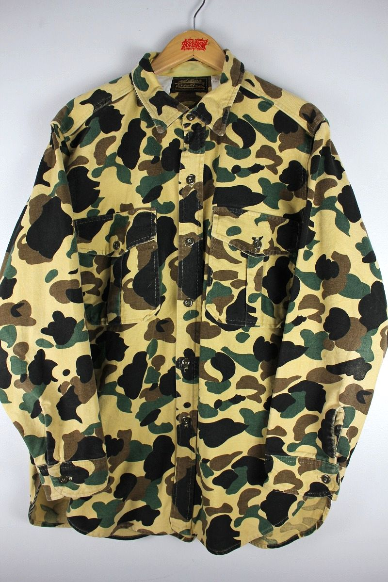 USED!!! EDDIE BAUER / CAMO CHAMOIS SHIRTS (70'S) / duck hunter camo