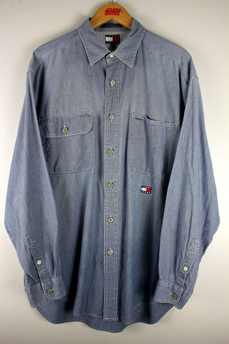 USED!!! TOMMY HILFIGER / LS CHAMBRAY SHIRTS (90'S) / light blue