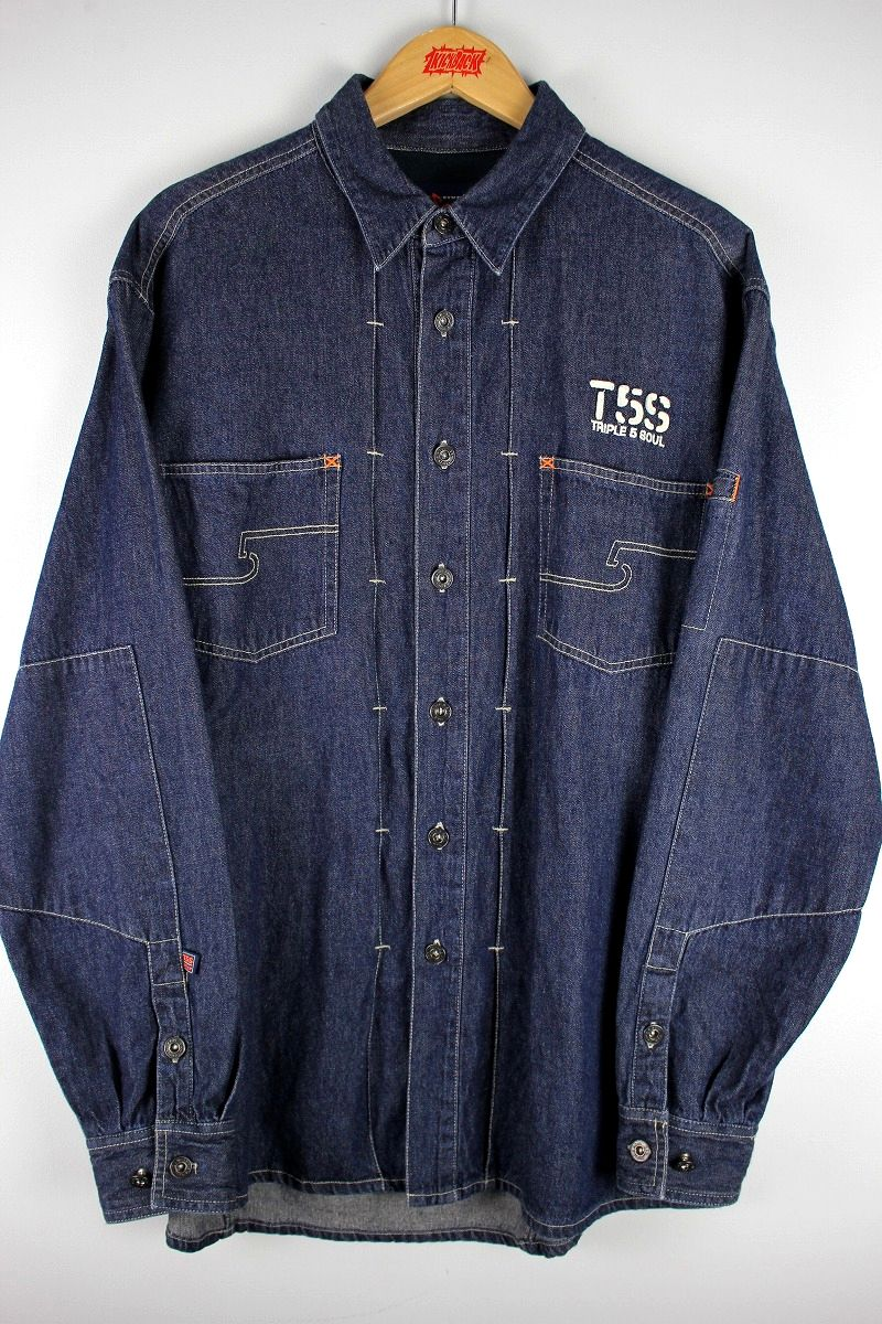 USED!!! TRIPLE FIVE SOUL / LS DENIM SHIRTS (90'S) / one wash indigo