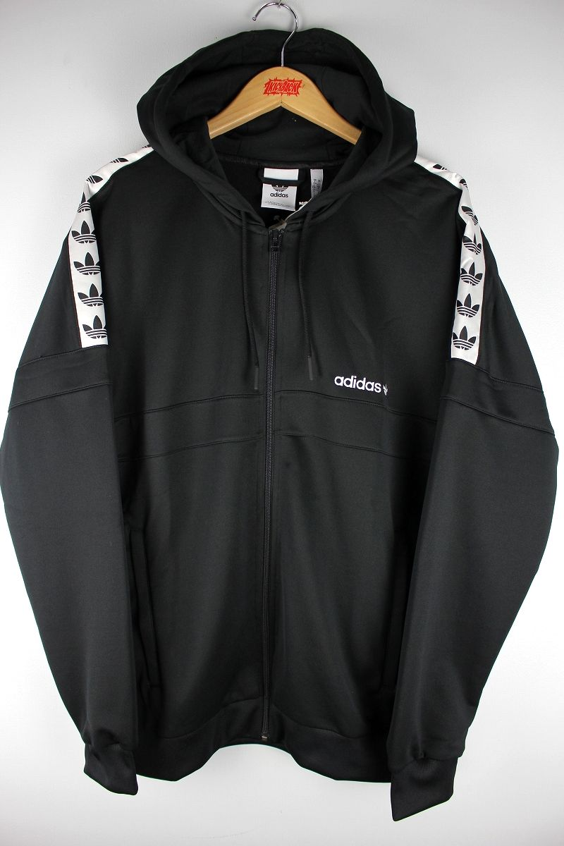 "adidas ORIGINALS / ""ITASCA TAPE"" ZIP-UP JERSEY HOODIE / black×white"