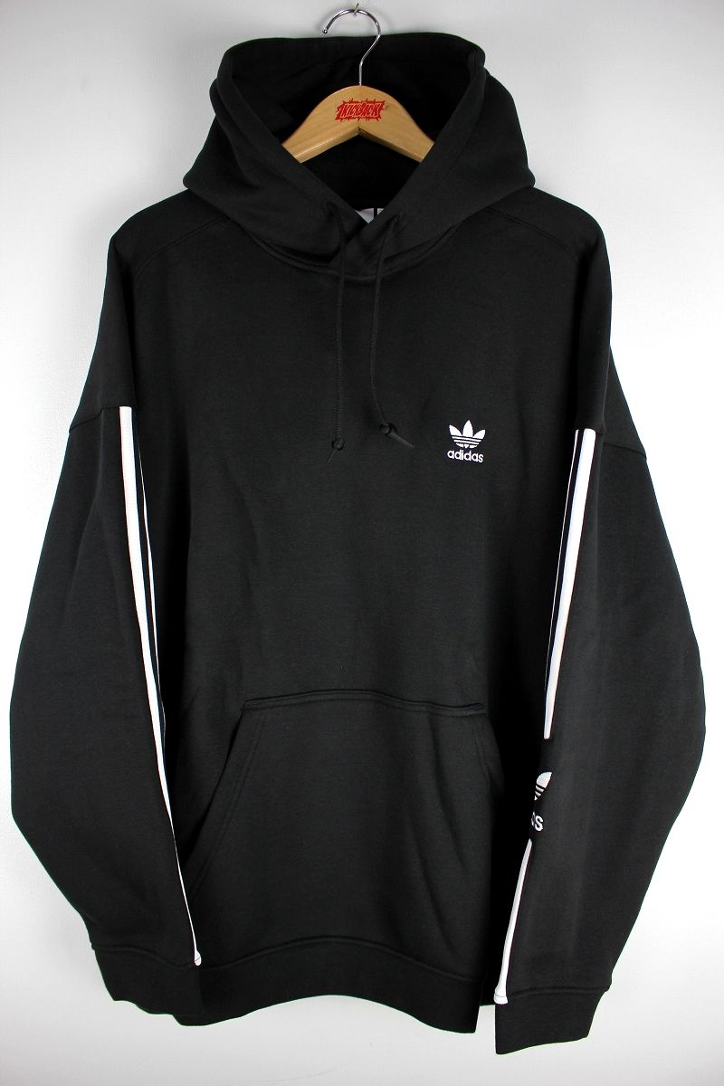 "adidas ORIGINALS / ""TECH"" STRIPED PULLOVER SWEAT HOODIE / black×white"